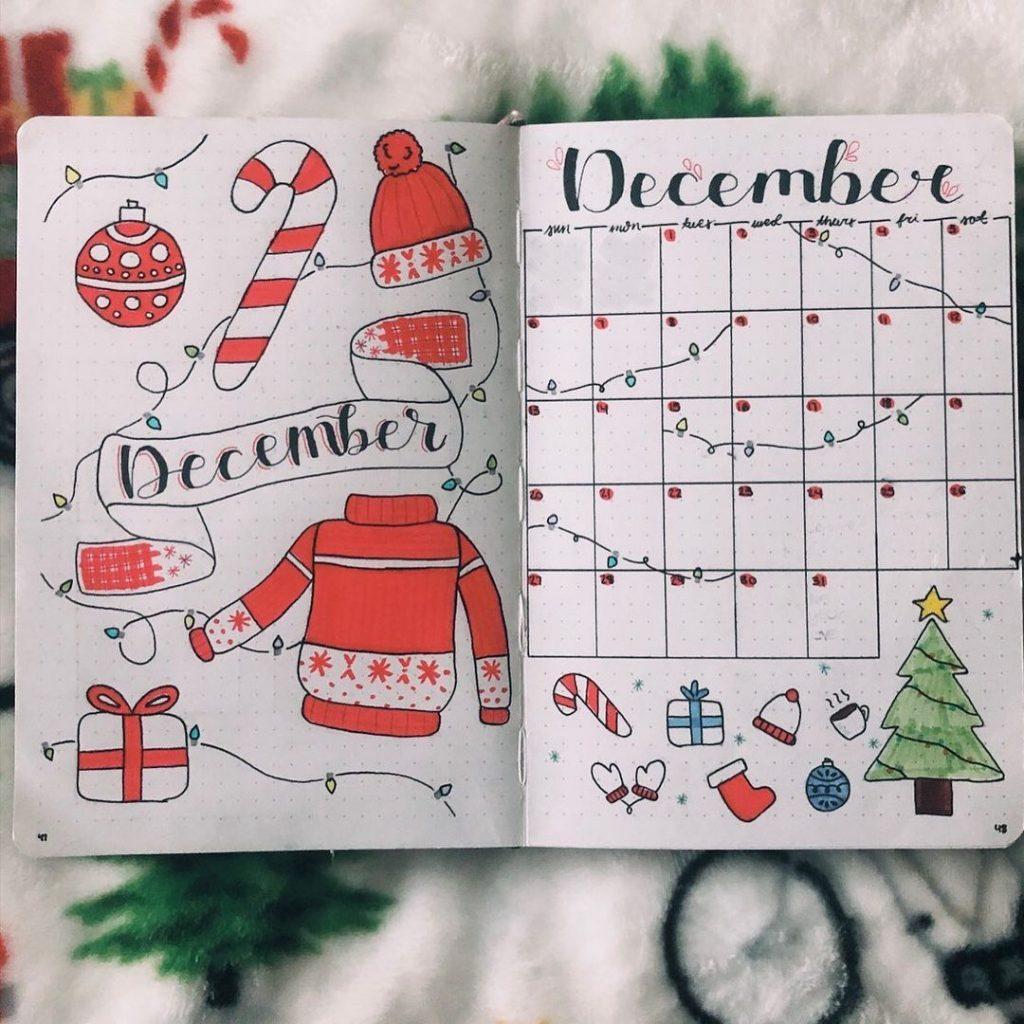 December Bullet journal calendar
