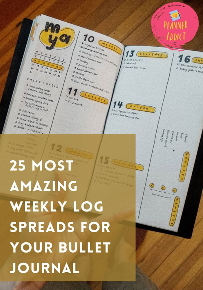 Feeling like you are out of ideas and finding some inspiration? Find  25 most amazing and easy weekly log spreads for your Bullet Journal .